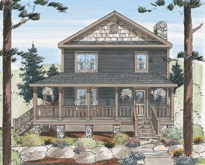 Blue ridge two story lake lodge modular home db homes for 2 story lake house